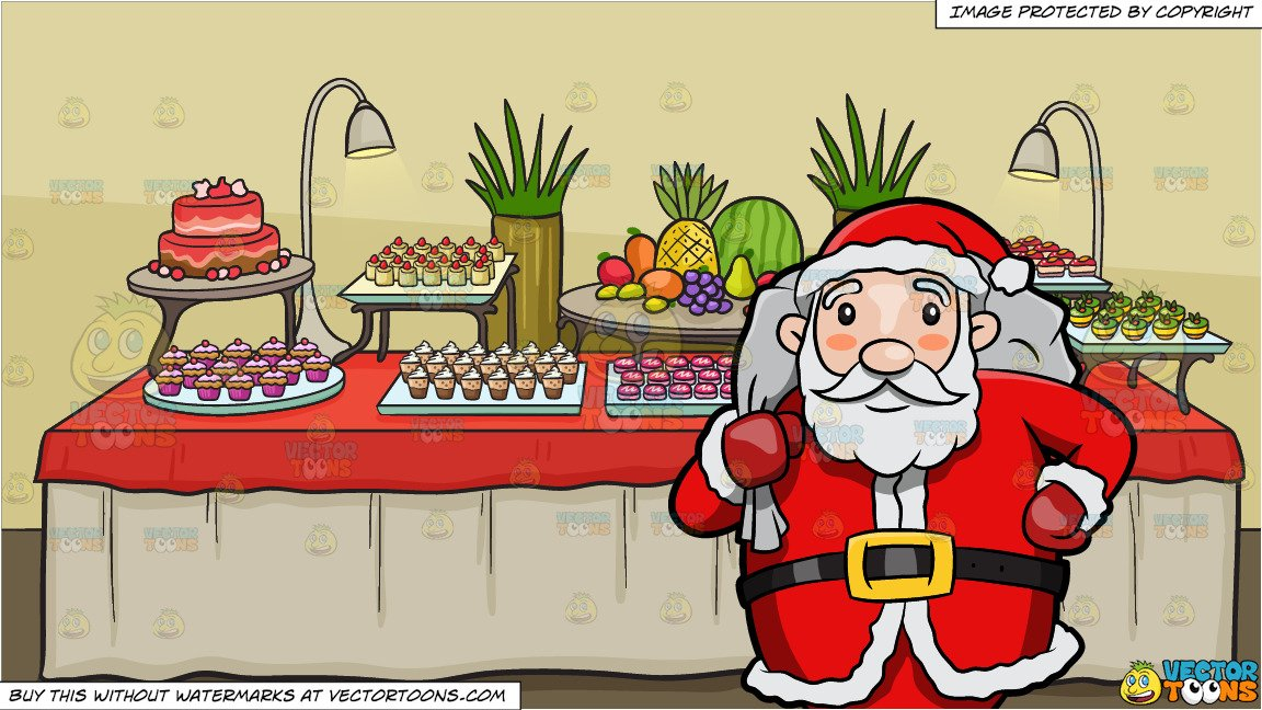 Santa Claus Carrying A Huge Sack Of Presents On Christmas Eve and A Dessert  Buffet Table Background.