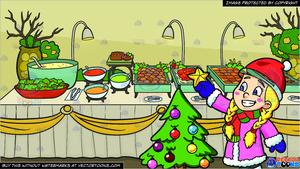 A Girl Decorating A Christmas Tree and A Savory Food Buffet Table Background.