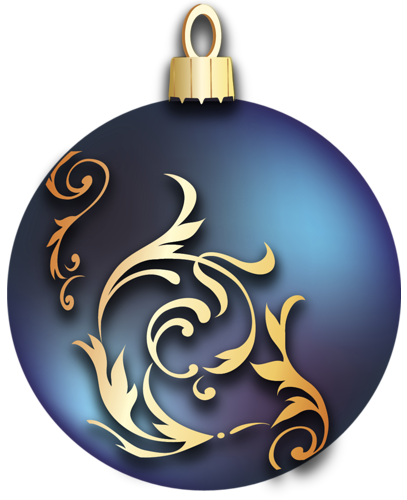 Transparent Blue Christmas Ball with Gold Ornaments Clipart.
