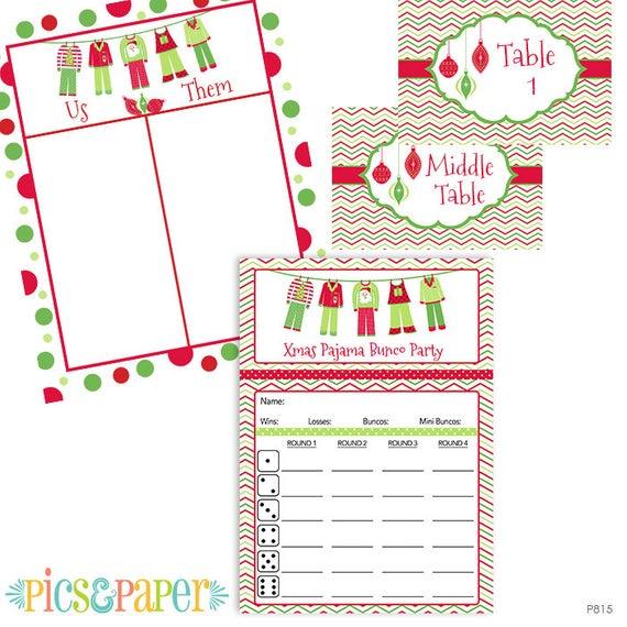 Items similar to Christmas Pajama Bunco Party Score Card Cute Xmas.