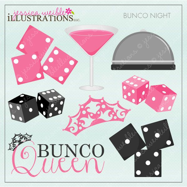 Bunco Night Clipart Graphics. 12 Cute Graphics for your next Bunco.