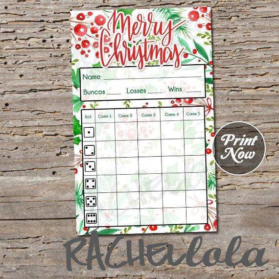 Christmas bunco score card, Holly score sheet, Bunko party scorecard.