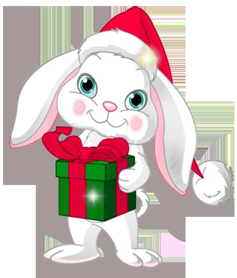 Free Christmas Bunny Clipart.