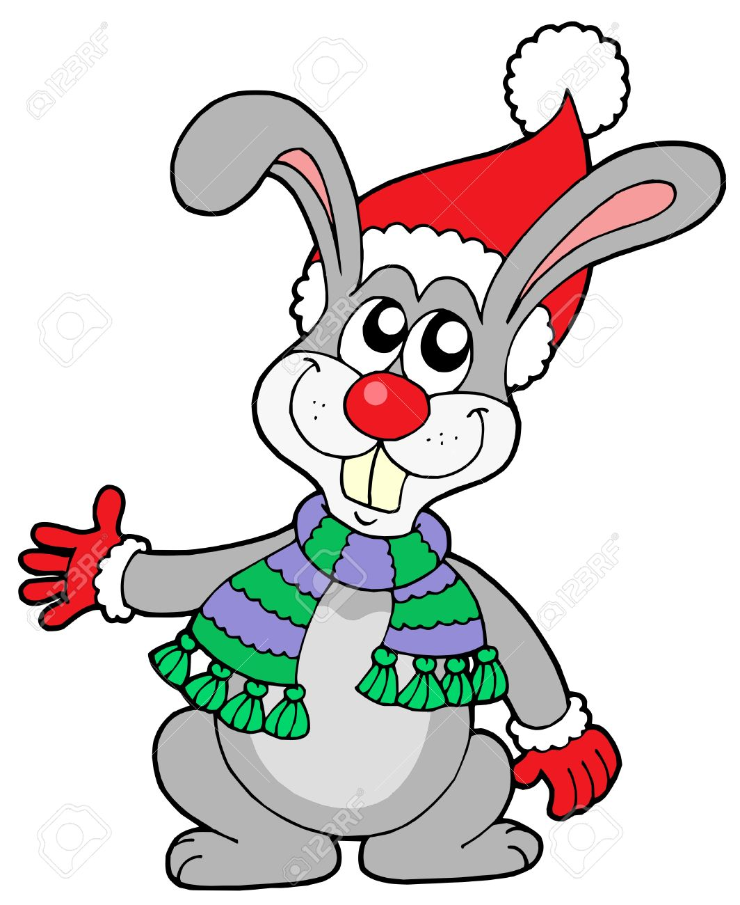 Free Christmas Bunny Clipart.