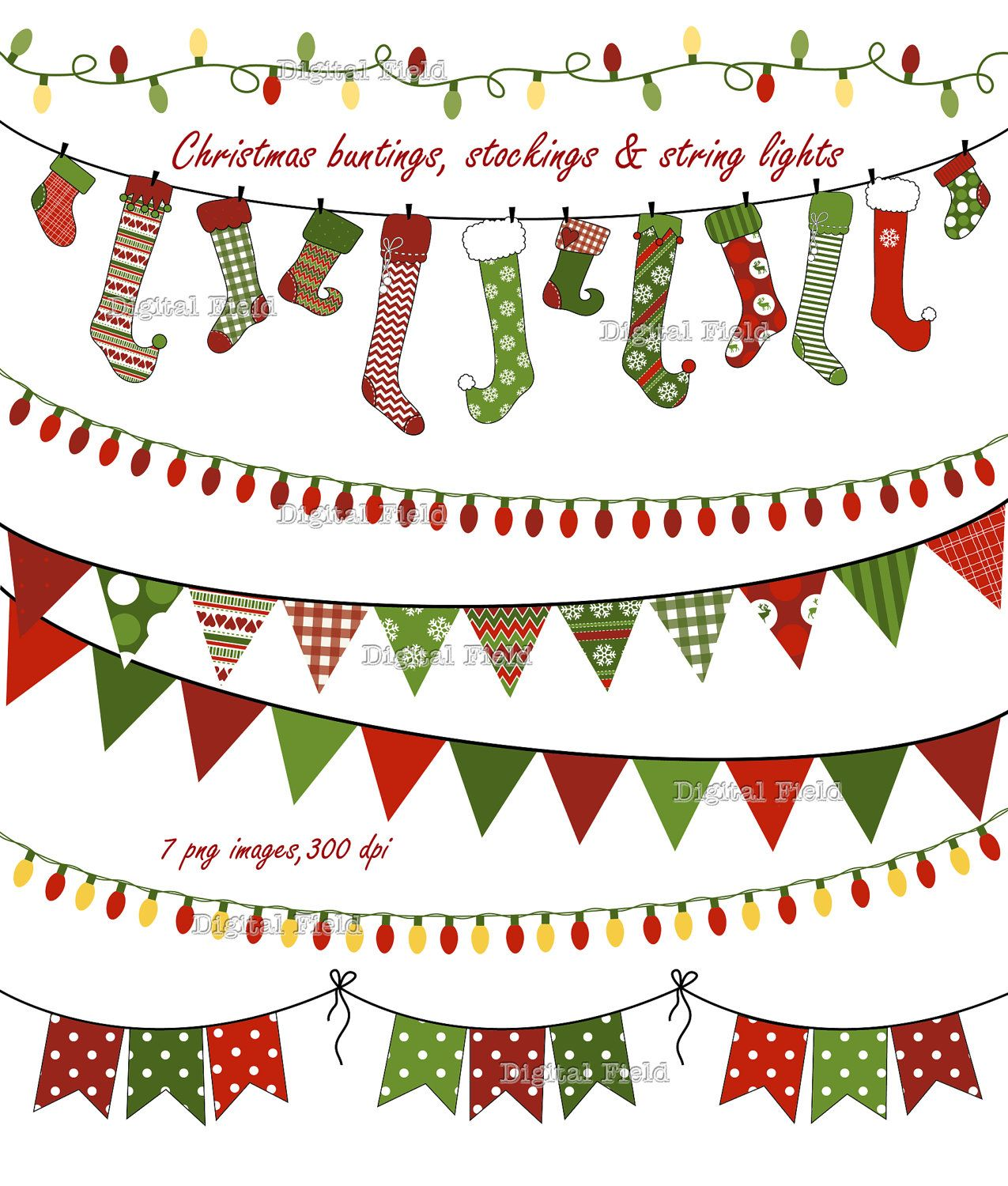 Christmas Buntings Stockings & Lights clip art by.