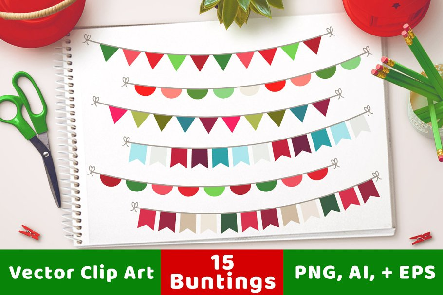 15 Christmas Buntings Clipart.