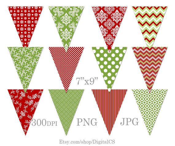 DIY Christmas garland Printable Christmas bunting clipart.