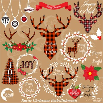 Christmas Clipart, Antler Clip Art, Deer Clipart Rustic Cabin Christmas  AMB.