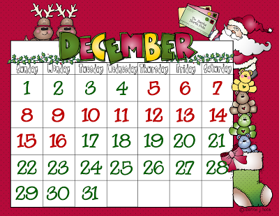 Christmas Calendar 2013 Clipart.