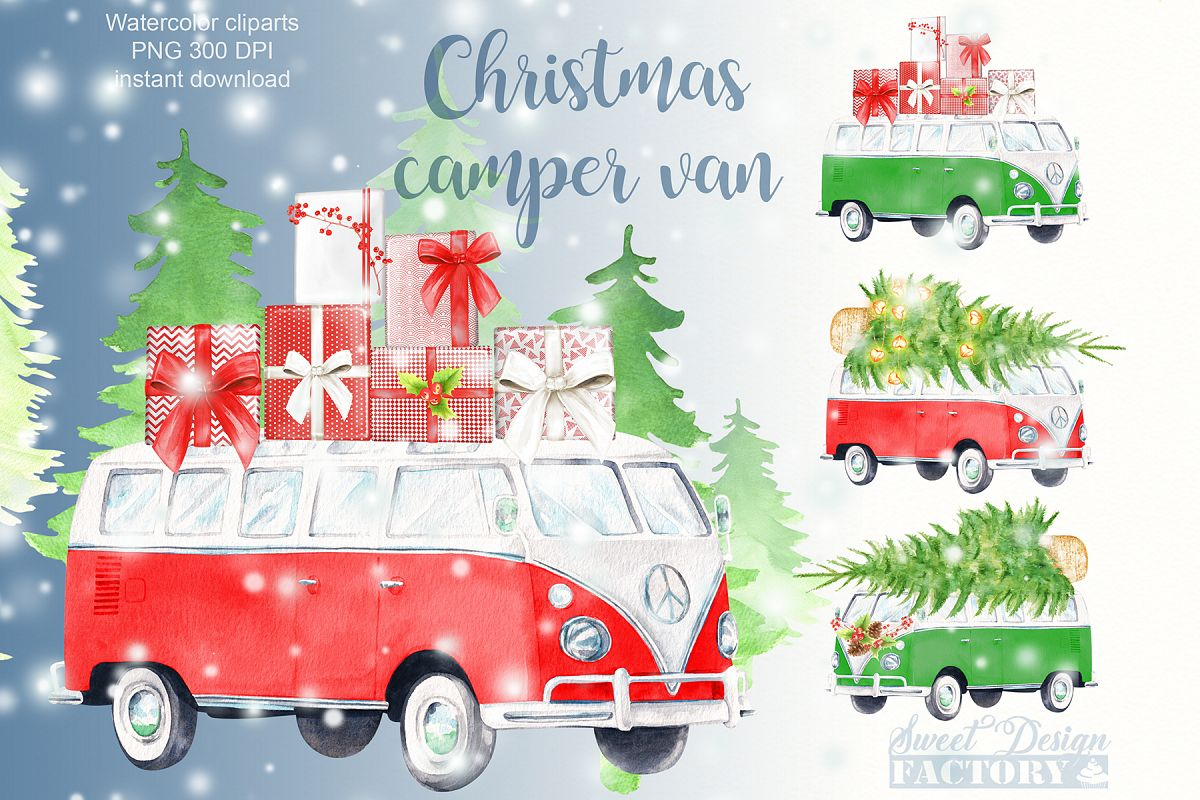 Watercolor Christmas retro van clipart.