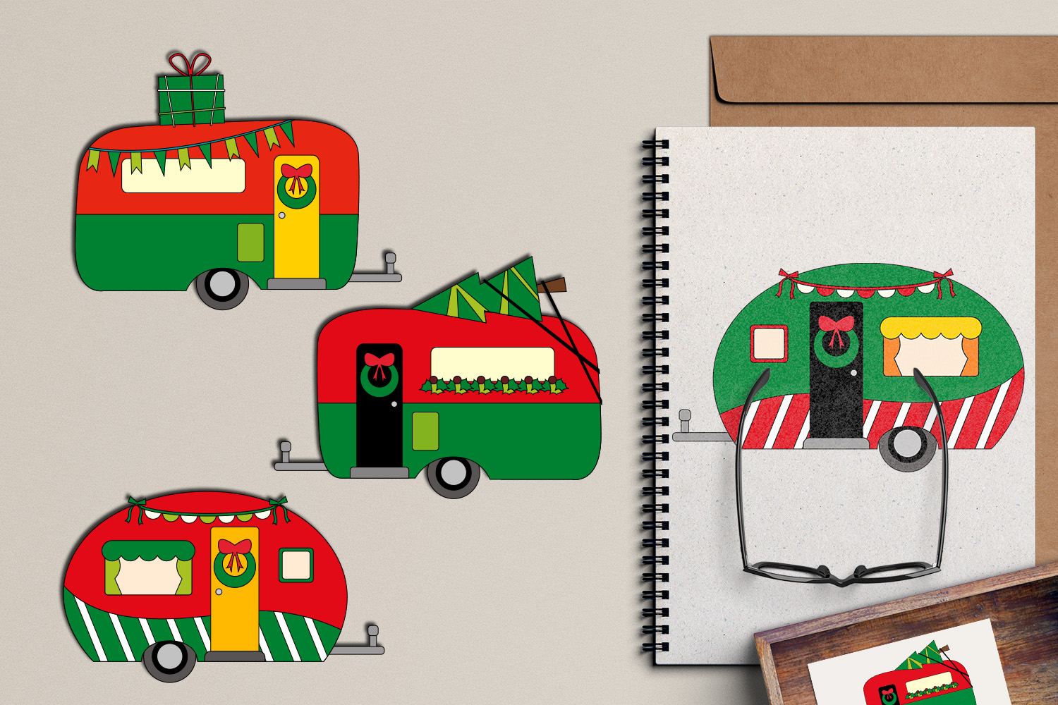 Christmas RV camper caravan clipart graphic illustrations.