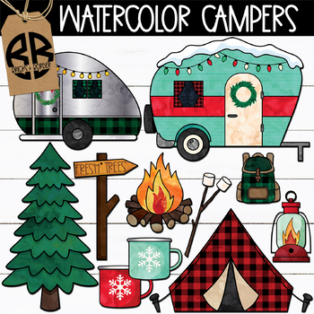 Watercolor Christmas Campers Clipart.