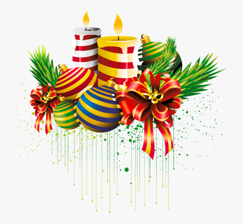 Transparent Christmas Ball And Candles Clipart Picture.