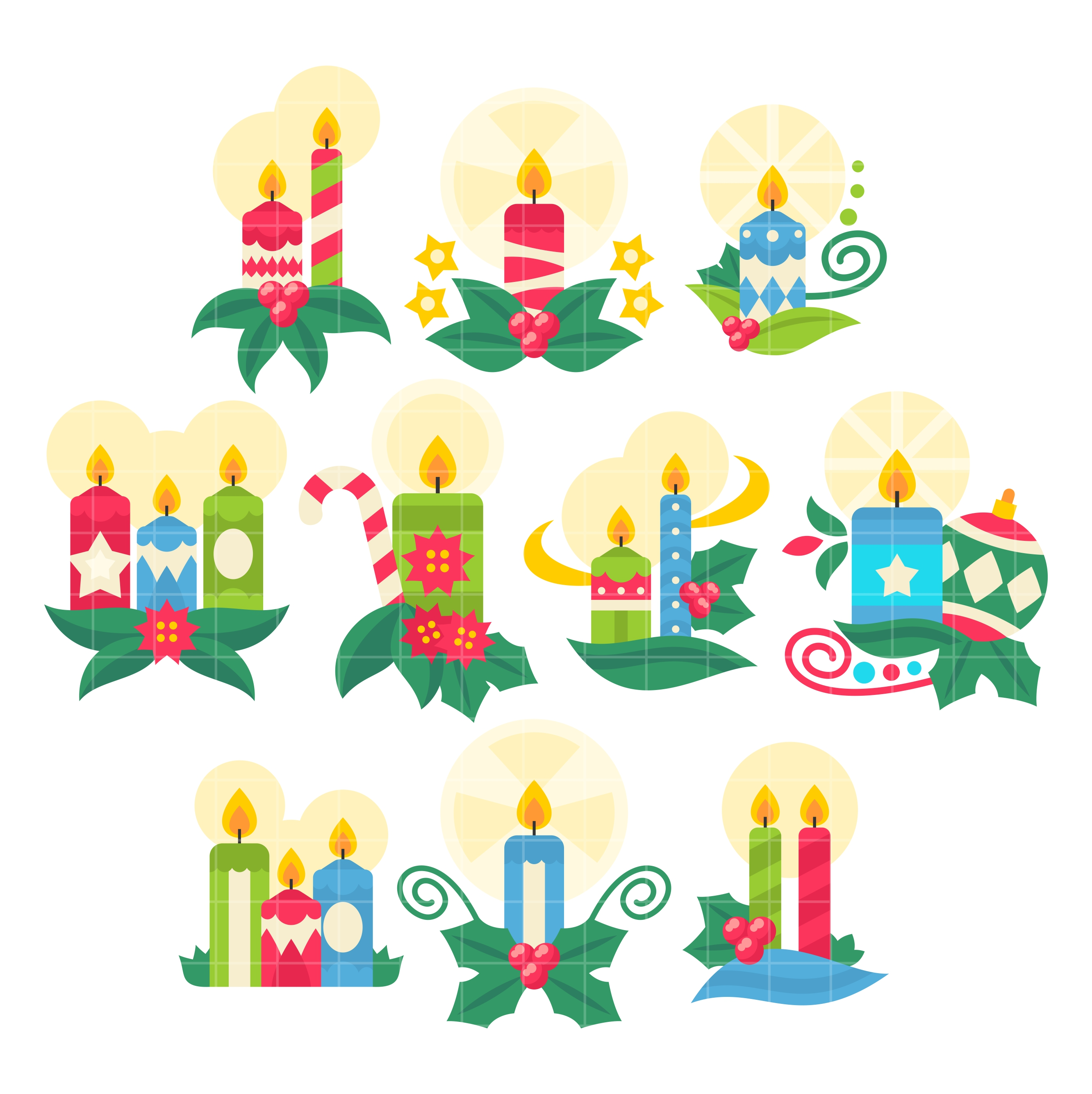Christmas Candles Set Semi Exclusive Clip Art Set For Digitizing and More.