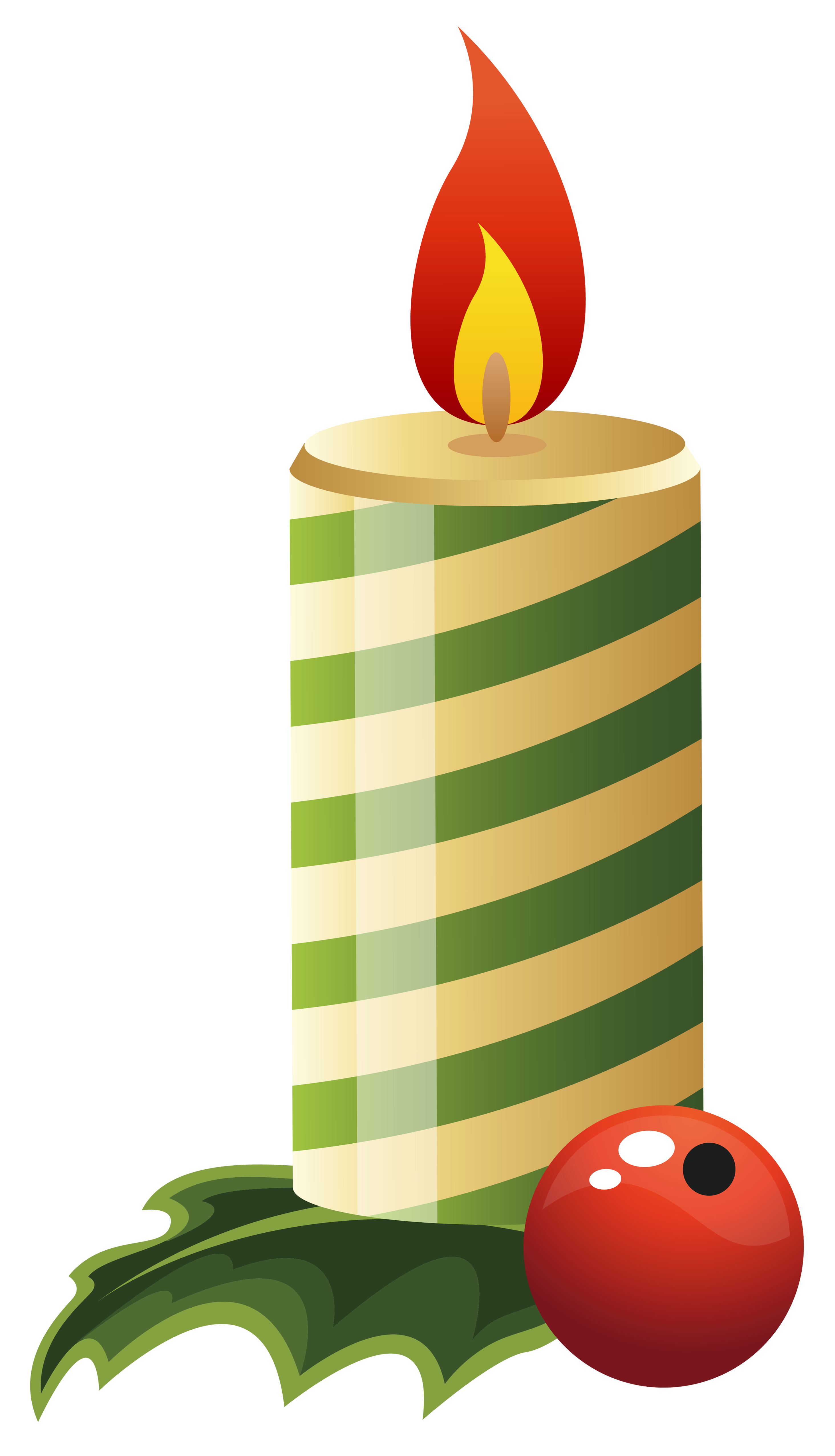 Green Christmas Candle PNG Clipart Image.