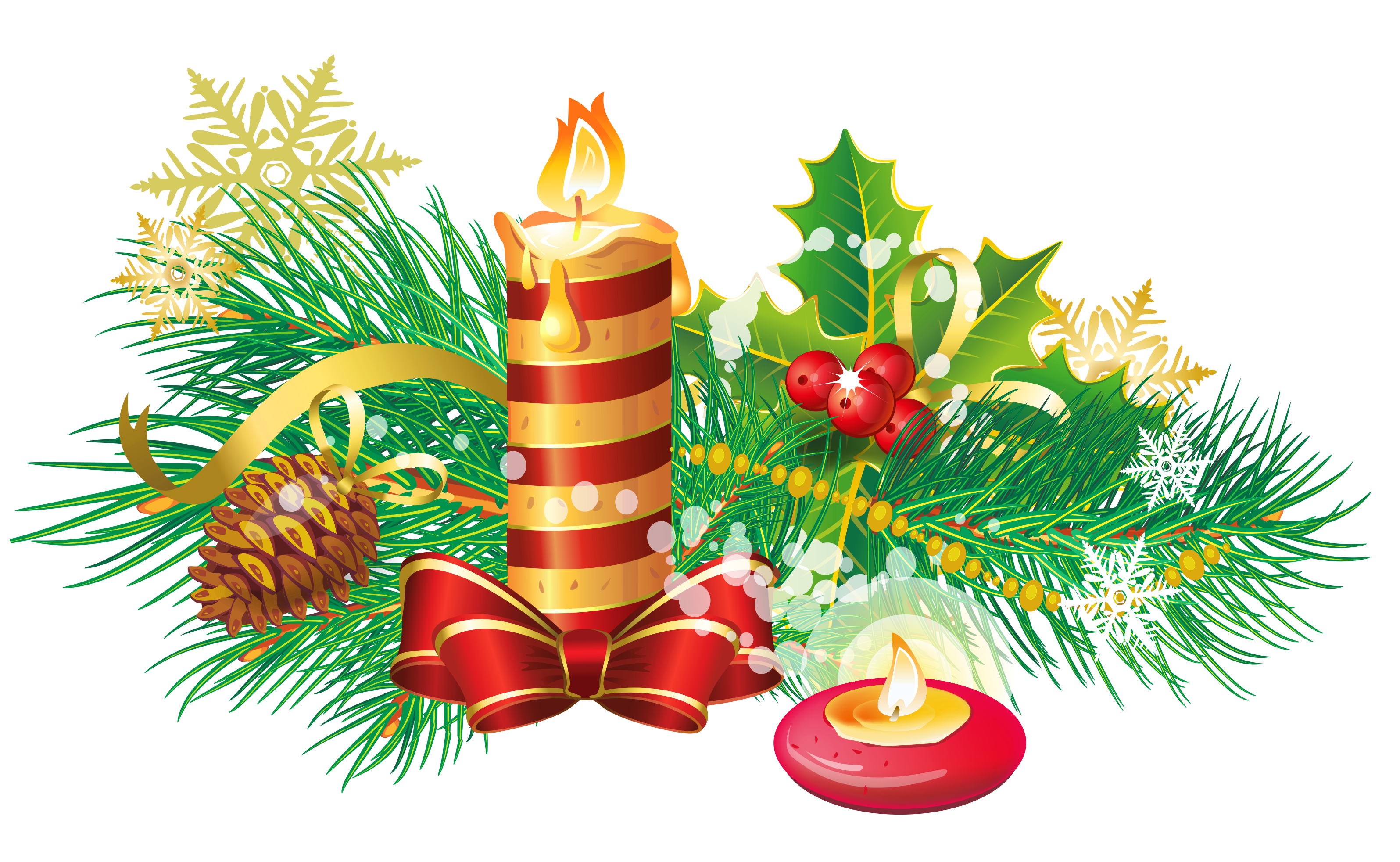 Transparent Christmas Candle PNG Clipart.