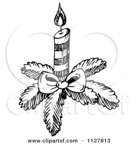 Cartoon Of A Sketched Black And White Christmas Candle.