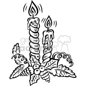 black and white Christmas candles clipart. Royalty.