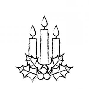 Christmas Candles Clipart Black And White.