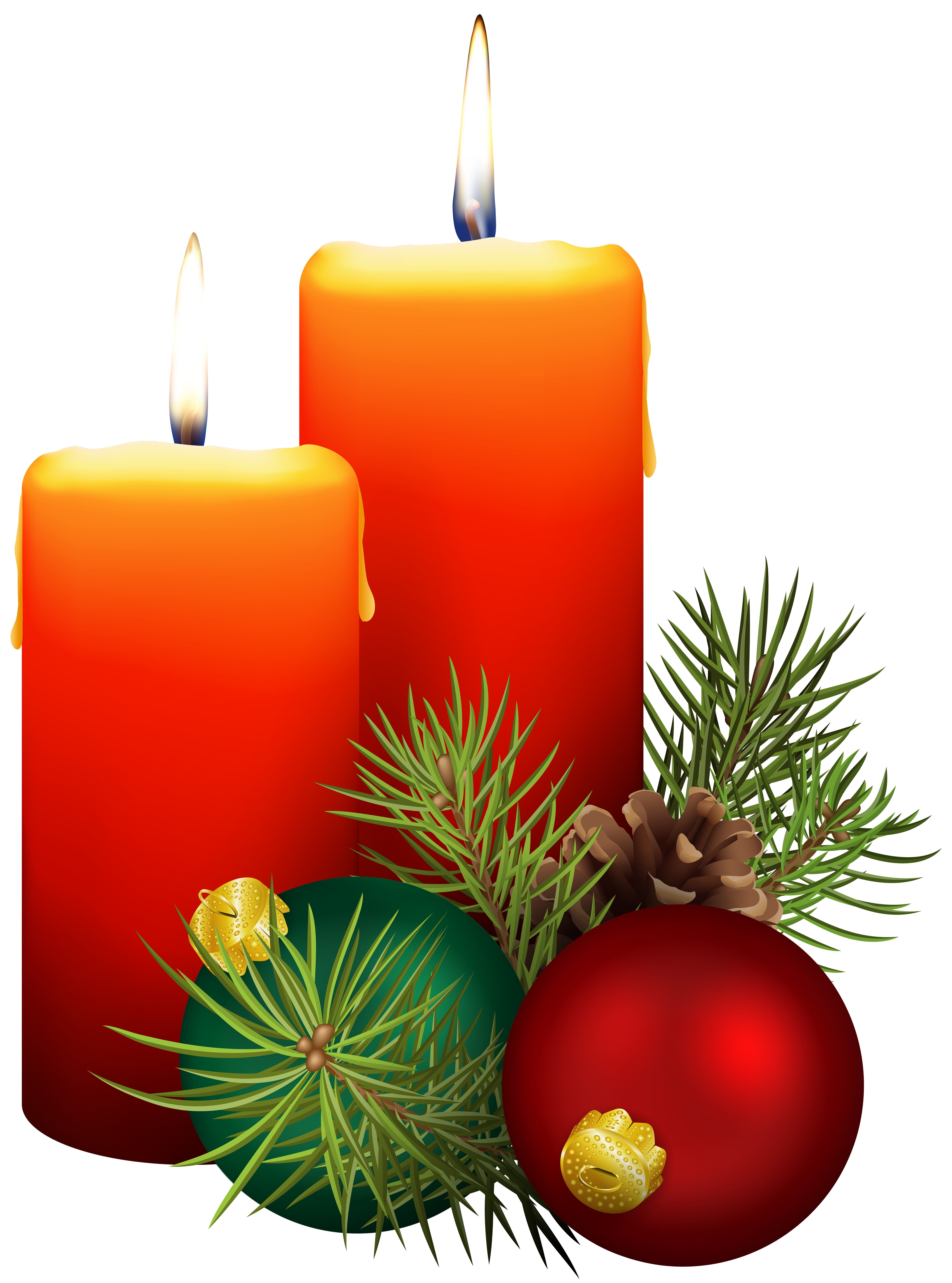 Christmas Candles PNG Clip Art Image.