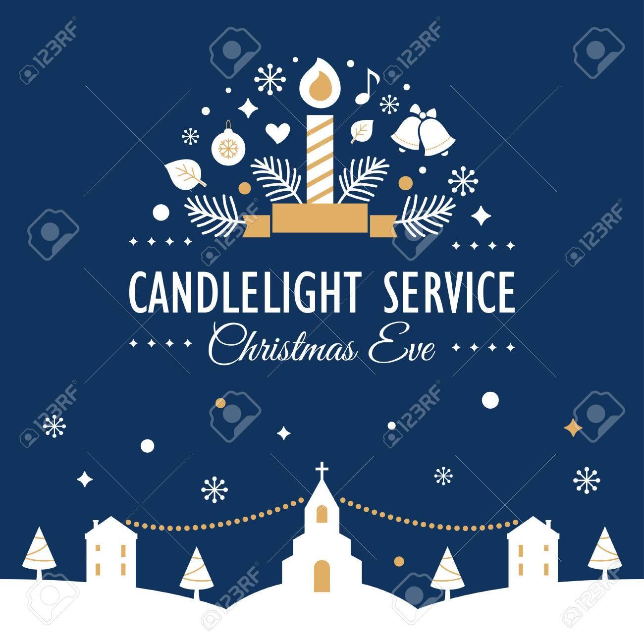 Christmas Eve Candlelight Service Invitation. Blurry Background.