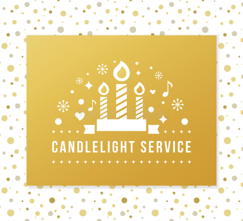 Christmas Eve Candlelight Service Stock Illustrations.