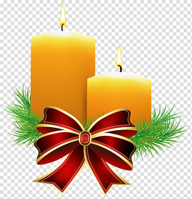 Two yellow lighted candles, Christmas Candle , Christmas Candles.