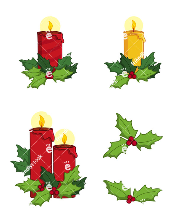 Christmas Candles And Holly Collection.