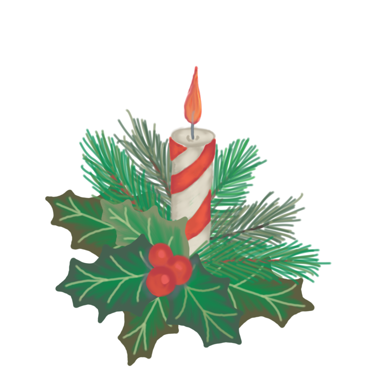 Jen Tennille Illustration and Design: Christmas Candle with Holly.