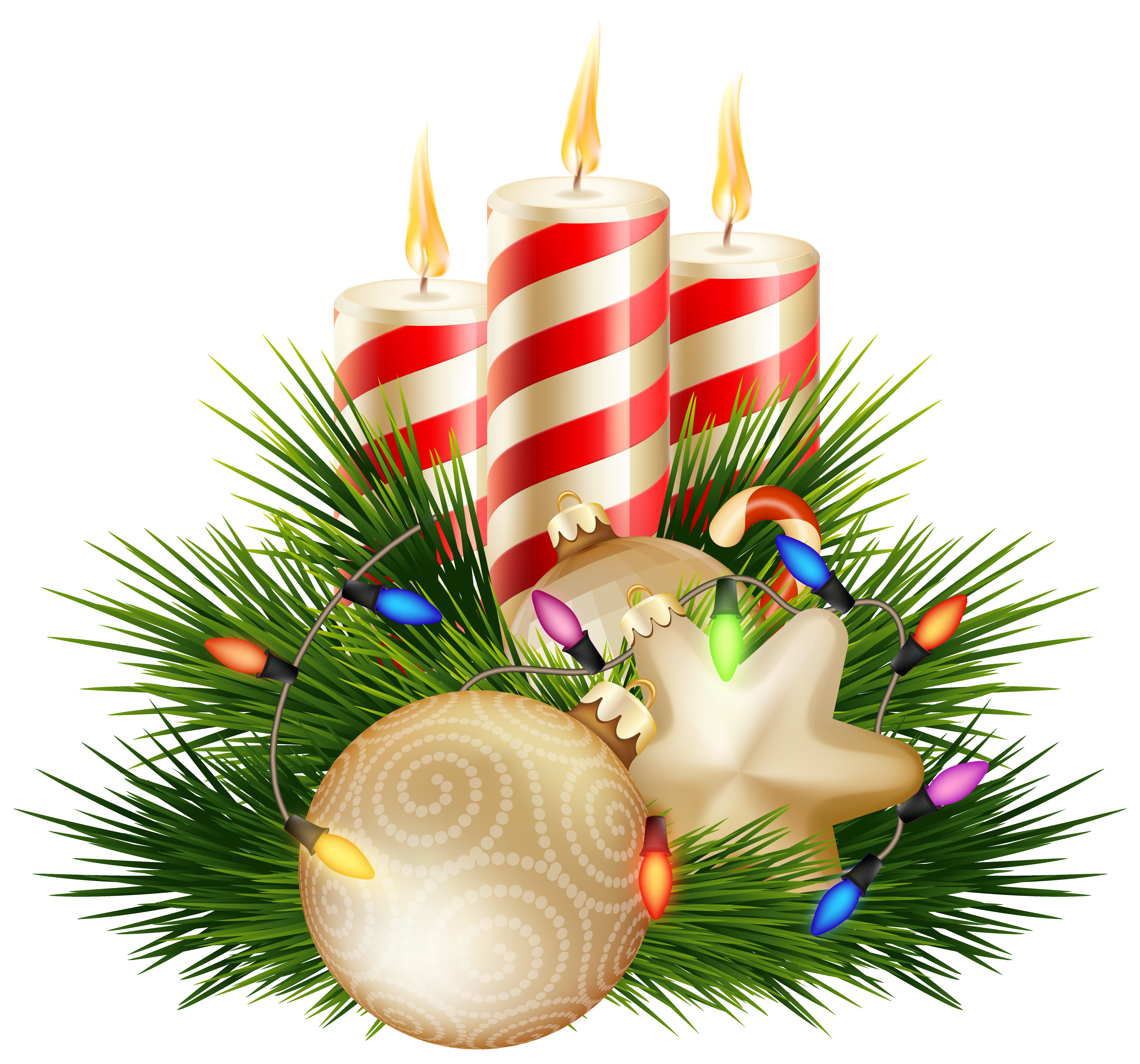 Christmas Candle Decorative PNG Clipart Image.