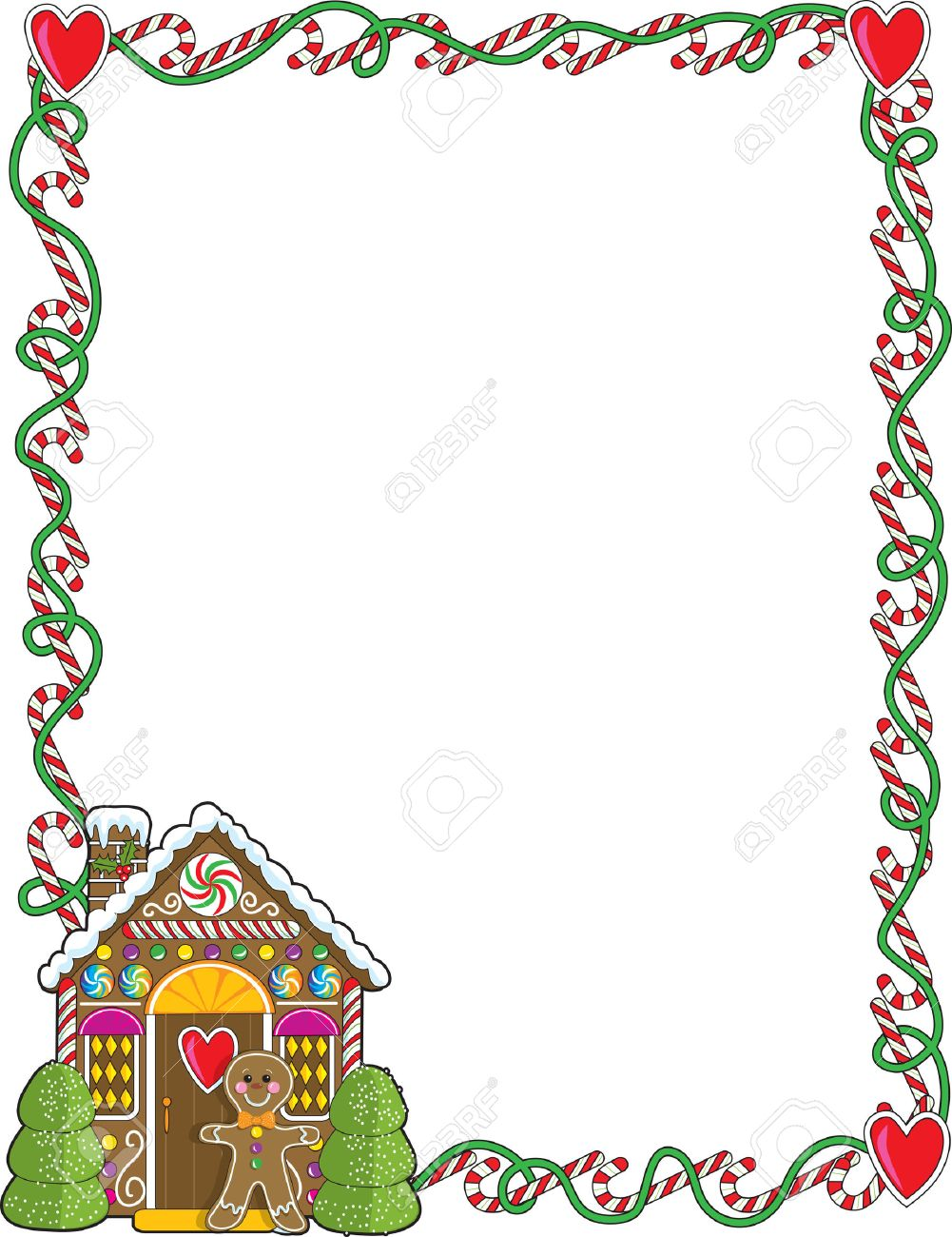 A border or frame featuring Christmas candy canes and a gingerbread...