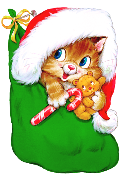 Transparent Christmas Kitten with Candy Cane Clipart.