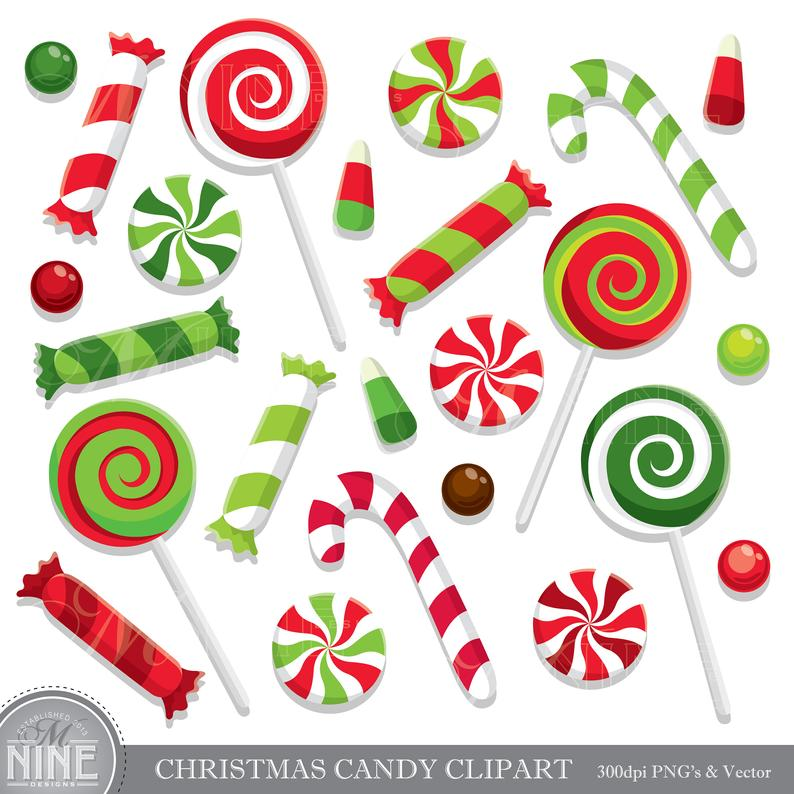 CHRISTMAS CANDY Clip Art / Holiday CANDY Clipart Downloads /.