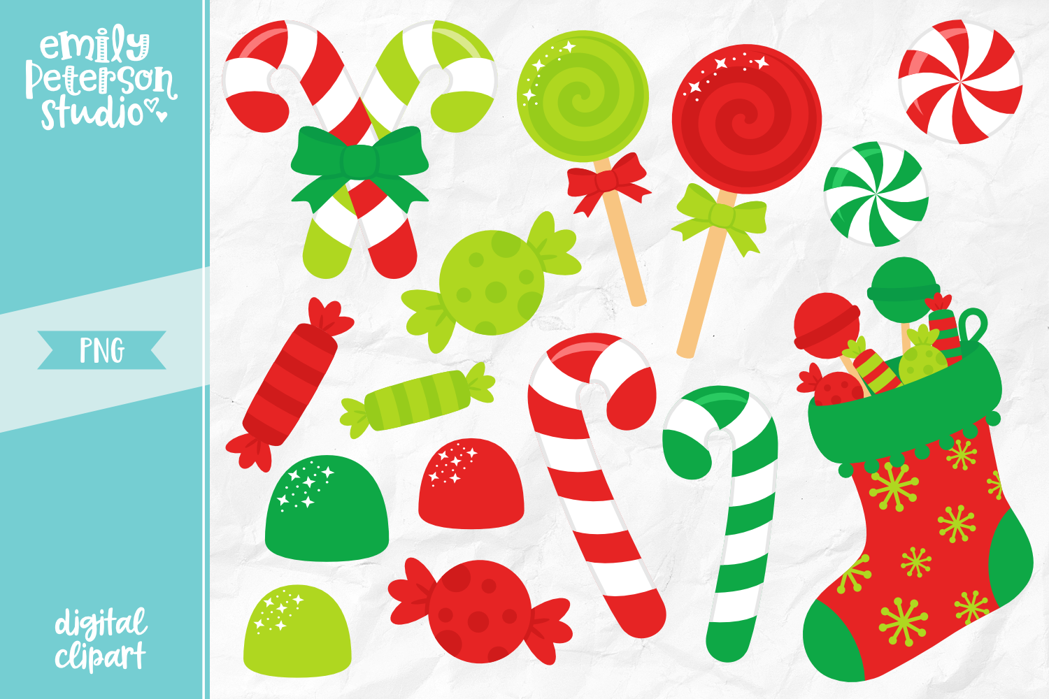 Christmas Candy Clipart Illustration PNG.