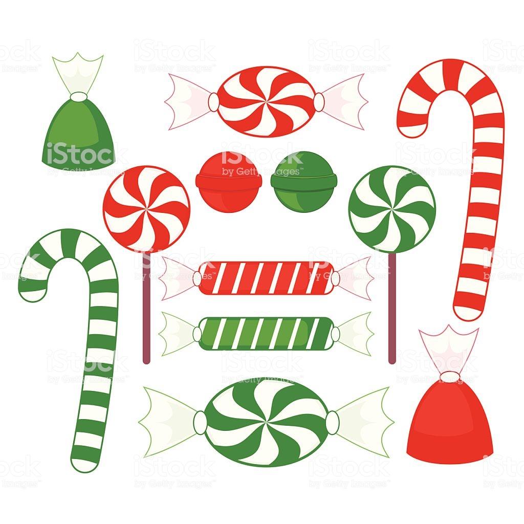 Christmas Candy Clip Art Stock Illustration.