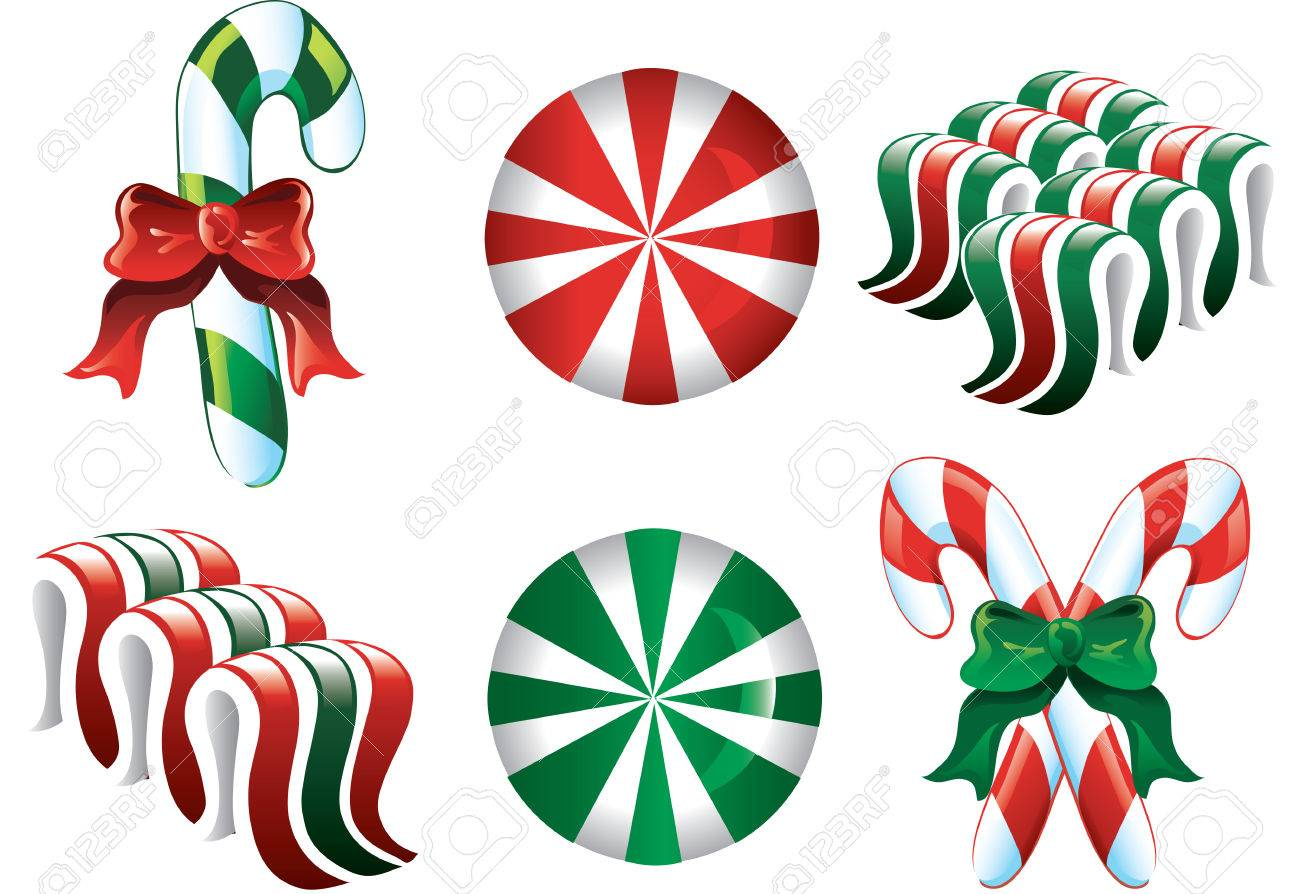 Colorful Christmas Candy Icons In Red Green And White Royalty Free.