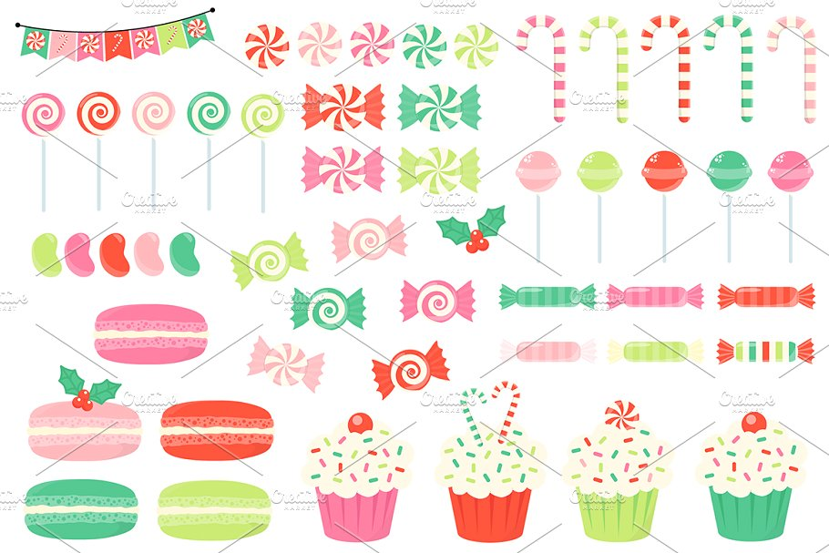 Christmas Candy Clipart ~ Illustrations ~ Creative Market.