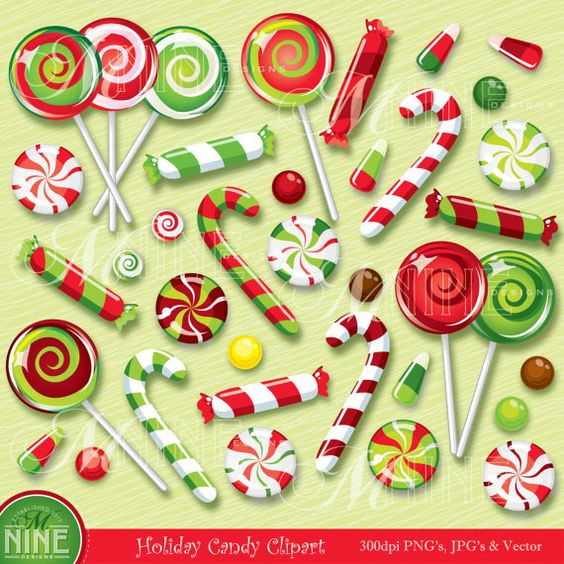 "CHRISTMAS Clip Art: ""CHRISTMAS CANDY"" Clipart, Holiday Lollipops."