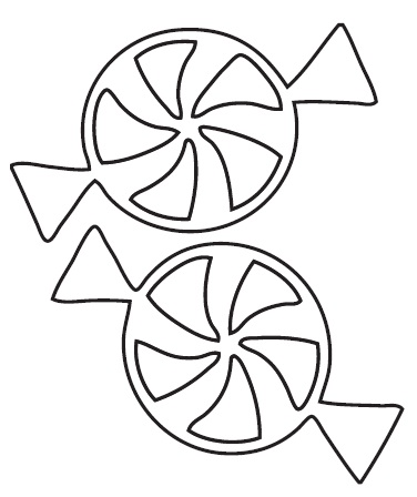 Christmas Candy Clip Art Black and White.