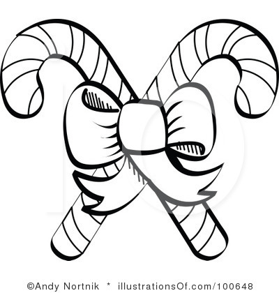 Candy Cane Clipart Black And White.