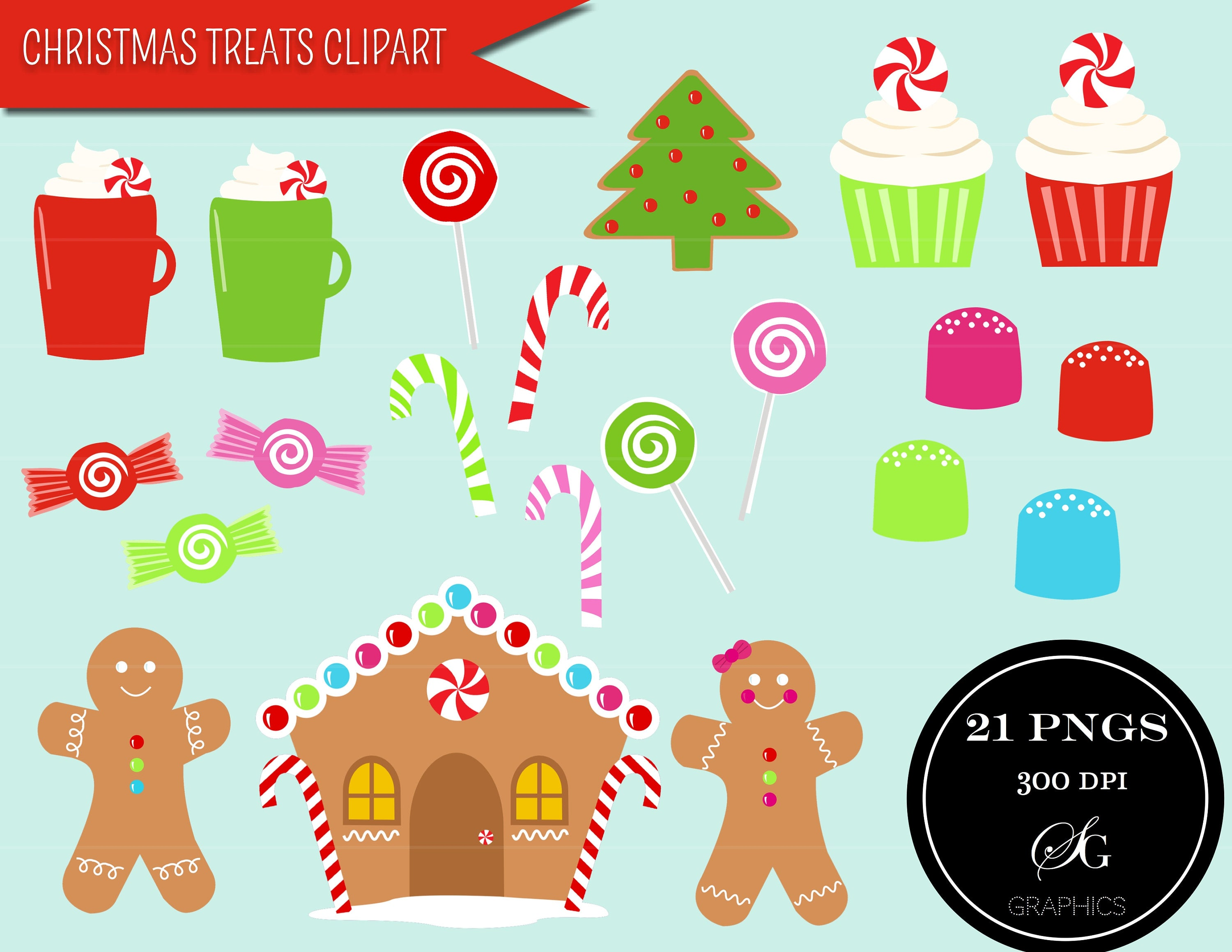 Christmas candy clipart set: