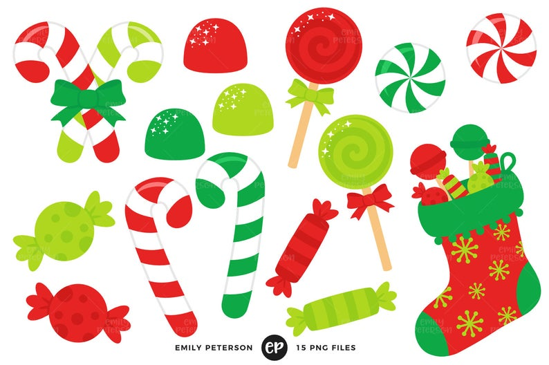 Christmas Candy Clip Art, Candy Cane Clipart, Stocking Clip Art.