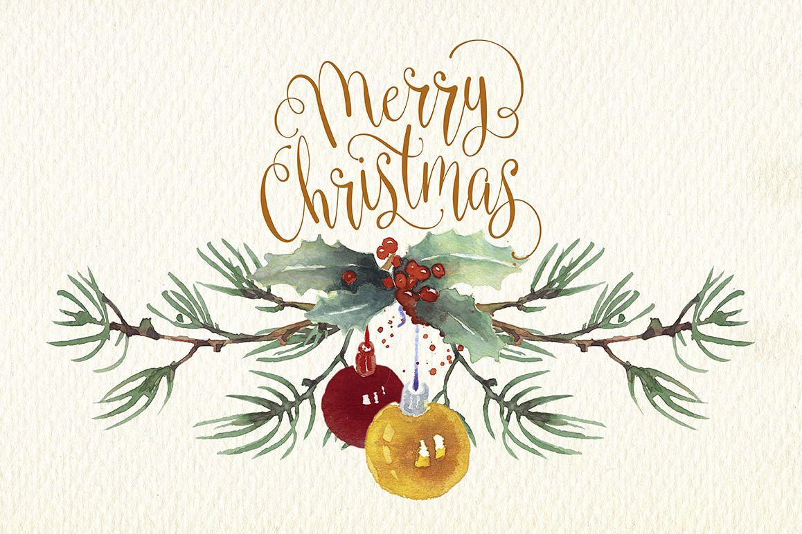 christmas cards watercolor clip art.