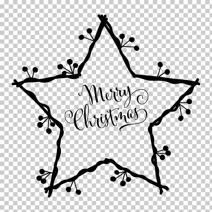 White Christmas Star of Bethlehem Christmas card , decal PNG.