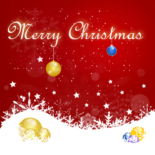 Vector clip art of red design Christmas card.