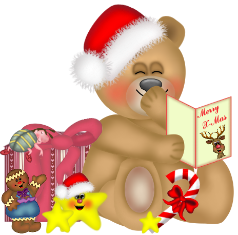 Christmas Teddy Bear with Christmas Card PNG Clipart.