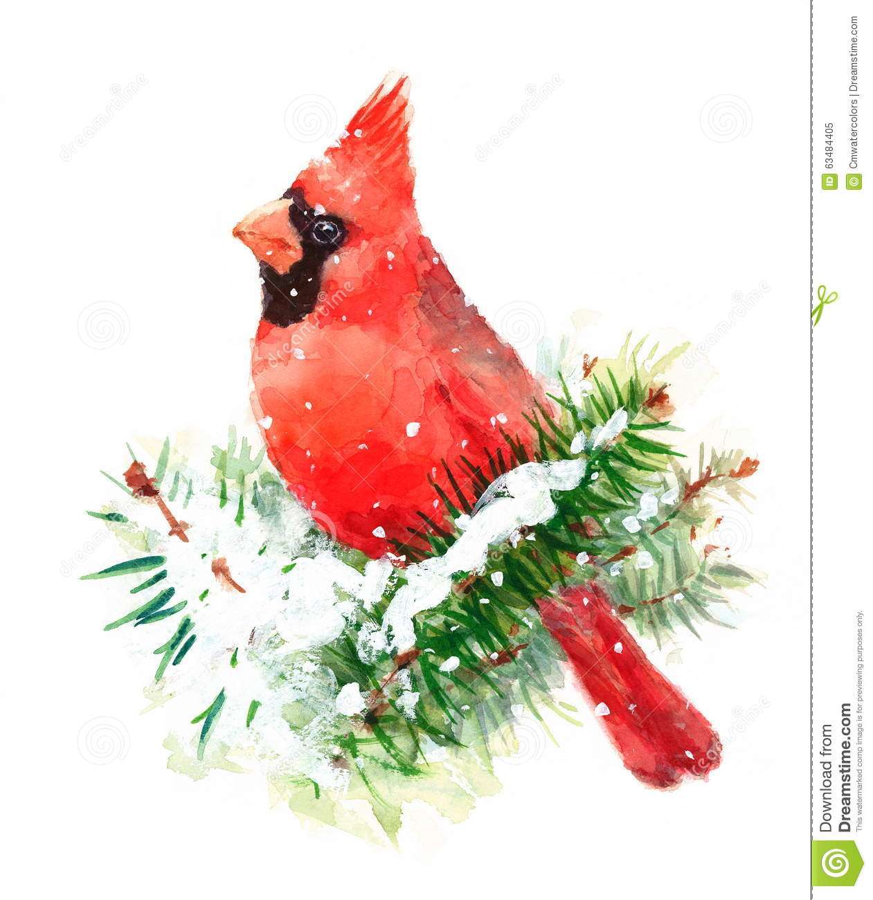 Cardinal In Snow Clipart.