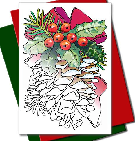 Art Eclect Coloring Christmas Cards for Adults and Children to Color (12  Cards with 6 Red and 6 Green Envelopes Included, Christmas Set B1).