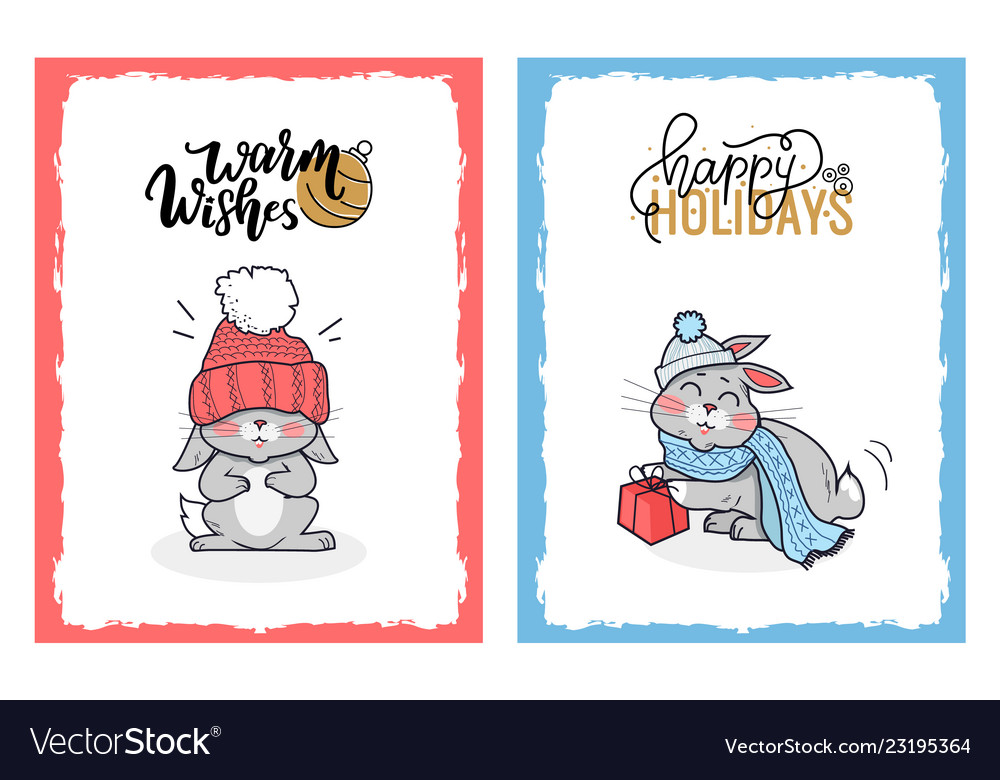 Clipart of lovely rabbits on christmas cards.