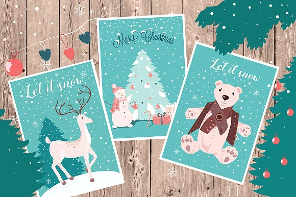 Christmas Cards and Clipart Set.